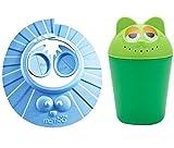 Chilsuessy Verstellbarer Shampoo Schutz mit Badebecher Shampoo Spüler Shampooaugenschutz Wasserschutz Baby Kinder Shampoo Rinser Dusche Cup Bath Pail, zum Schutz der Augen und Ohren beim Haarewaschen, Blau
