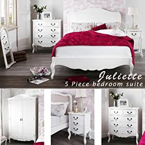 Juliette Shabby Chic White Double bed 5pc bedroom suite, 4ft6 bed, chest of drawers, wardrobe, bedside table, FULLY ASSEMBLED