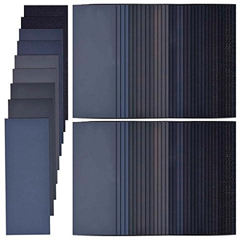 68 Stück 60 bis 3000 Korn Sandpapier Sortiment, 9 x 3,6 Zoll, Trocken/ Nass, Sandpapier für Holz Drehen Finishing, Möbel Finishing, Automotive Schleifen
