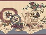 Tisch mit Tee Party Set Früchte Küche beige breit Tapete Bordüre Retro Design, Rolle 15'x 22,9cm