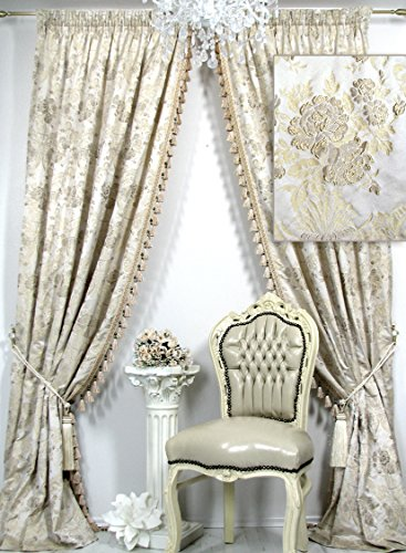 2er-Set Vorhänge mit Quastenborte Kollektion *Villa Catania Floral*, mit plastisch bestickten Blüten. Ateliergefertigt. Maßanfertigungen möglich!