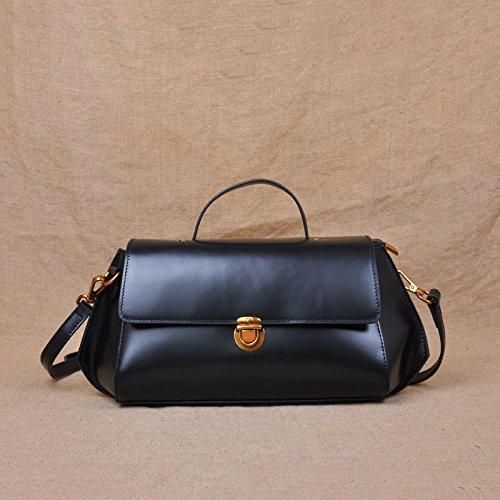 Nouveau sac à main bandoulière épaule cuir simple couche d'en-tête en cuir sacs femmes Joker de banlieue Black