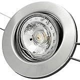 4 Stück MCOB LED Einbauleuchte Elena 230 Volt 7 Watt Dimmbar Schwenkbar Edelstahl geb. / Warmweiß
