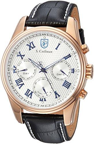 S. Coifman Men's 'Heritage' Quartz Gold and Leather Casual Watch, Color:Black (Model: SC0401)