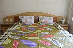 Printed Double Bedsheet With 2 Embroidery Pillow Cover
