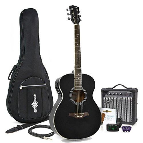 Guitarra Electroacústica de Concierto + Pack de Amplificador de 15W Negro