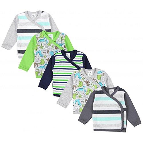 TupTam Baby Jungen Langarm Wickelshirt Baumwolle 5er Set, Farbe: Mehrfarbig 3, Größe: 50