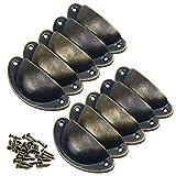 Pomelli per Mobili Vintage 10 Pezzi Pomelli per Porta Manopole per Mobili da Cucina Shabby Design a Conchiglia Pomelli per Cassetti Armadio Cucina Ottone Antico