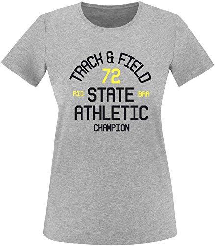 EZYshirt Track & Field Damen Rundhals T-Shirt Grau/Schwarz/Gelb