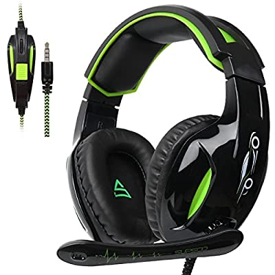 [SUPSOO G813 New Xbox one Gaming Headset ]3.5mm Stereo Wired Over Ear Gaming Headset with Mic&Noise Cancelling & Volume Control for New Xbox One / PC / Mac/ PS4/ Table/ Phone (Black&Green) by SHENZHEN SADES DIGITAL TECHNOLOGY CO.,LTD.