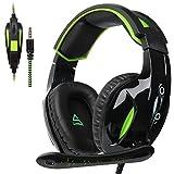 Supsoo G813New Xbox One Gaming-Headset 3,5mm Stereo Over-Ear-Kabel Gaming-Headset mit Mikrofon & Geräuschunterdrückung & Lautstärkeregler für neue Xbox One/PC/Mac/PS4/Tisch/Telefon (schwarz & grün)