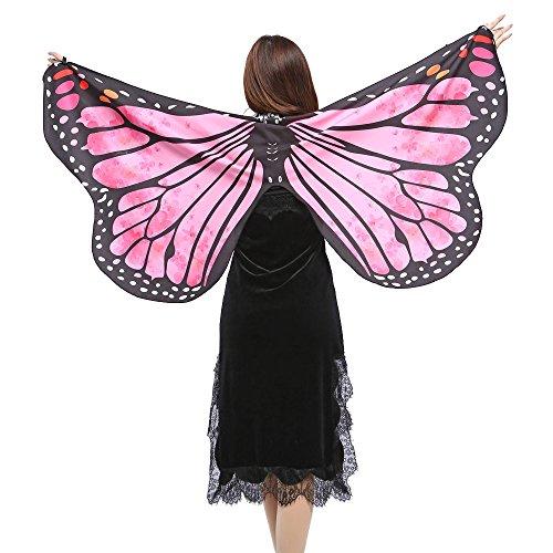 OverDose Damen Karneval Cosplay Stil Frauen Schmetterlingsflügel Schal Schals Damen Nymphe Pixie Poncho Einzigartige Kostüm Zubehör Flügel Schal
