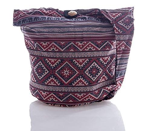 Avarada Thai Cotton Hippie Hobo Sling Crossbody Bag Messenger Purse Bohemian Geometry Elephant Ver2 Grey