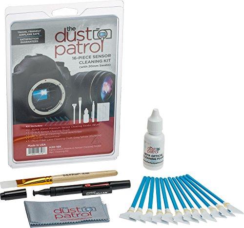 The Dust Patrol Alpha 20mm Premium Sensorreinigungs-Swabs 16-teiliges Kit (Blau) mit Beta optischer Reinigungsflüssigkeit 14ml. Für Kameras mit 20mm Sensoren - für System- und MicroFourThirds Kameras