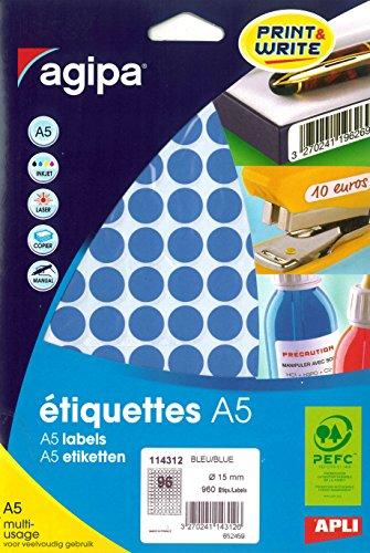 Agipa A5960etiquetas redondas, diámetro 15mm, Azul