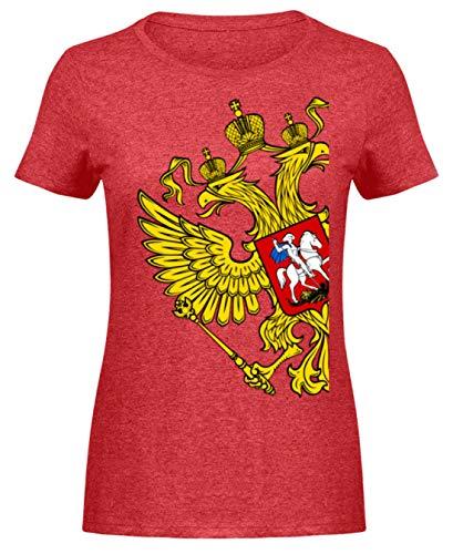 Union Heather T-shirt (Russia Tshirt Russland Flagge goldene Adler Geschenk Poccnr - Damen Melange Shirt -S-Heather Rot)