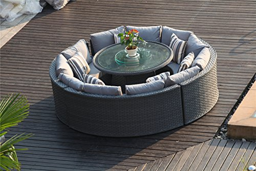 grey rattan dining table. yakoe 50144 monaco 10 seater round rattan outdoor patio garden furniture dining table sofa set \u2013 grey