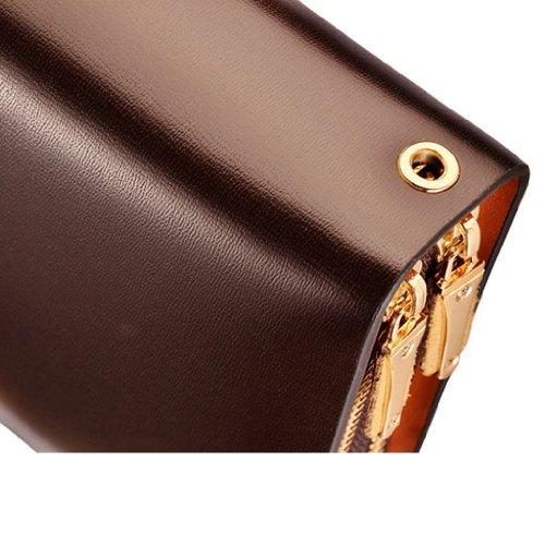 Teemzone 19,5x11,5x4cm Multi-Tasche Neu Clutch Unterarmtasche Etui Geldbeutel Herrenhandgelenktasche Rindleder Schwarz Braun Mit Trageschlaufe Braun Groß