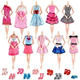 AiteFeir 20 Articoli Inclusi 10 Pezzi Moda Casual con 10 Paia di Scarpe per Barbie Doll Christmas Xmas Gif