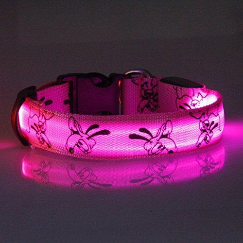 Eizur Regulierbar LED Hundehalsband Sicherheits Leuchthalsband Blinkendes Licht Haustier Halsbänder 3 Leucht-Modi Größe S–Rosa - 3
