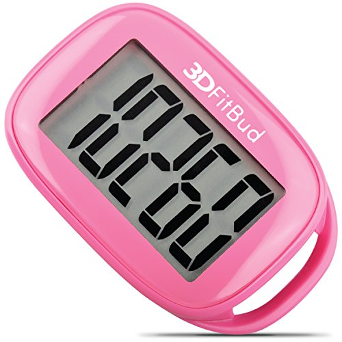 3DFitBud Simple Step Counter Walking 3D Pedometer with Lanyard, A420S (Pink)