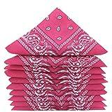 KARL LOVEN Lotto di 10 bandane 100% Cotone Paisley Sciarpa Testa Collo Fazzoletti (Lotto di 10, Fucsia rosa)