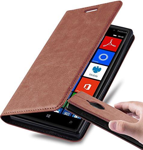 Cadorabo Hülle für Nokia Lumia 830 - Hülle in Cappuccino BRAUN – Handyhülle mit Magnetverschluss, Standfunktion und Kartenfach - Case Cover Schutzhülle Etui Tasche Book Klapp Style