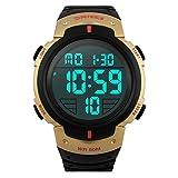 TTLIFE Armbanduhr, Sportuhr, Digitaluhr, Wasserdicht, mit Alarm Kalender, Uhren für Herren Männer Damen Frauen Jungen universal Multifunktions-Analog Clock (Gold)