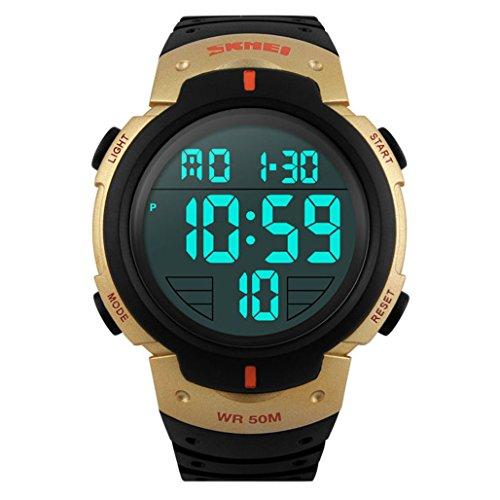 TTLIFE 1068 Unisex Bracciale Sport orologi male Digital Outdoor Uomo Orologi impermeabile, gold