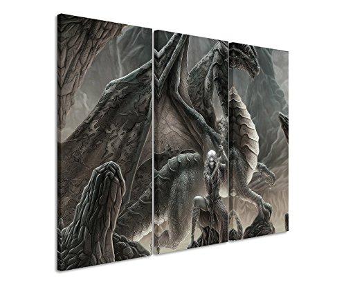 Lienzo 3 teilig 3 x 90 x 40 cm juego de-Thrones_Dragon_Queen_