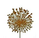 Metallmichl Edelrost Blumenstecker Allium 30cm Durchmesser (Flach), Gartenstecker