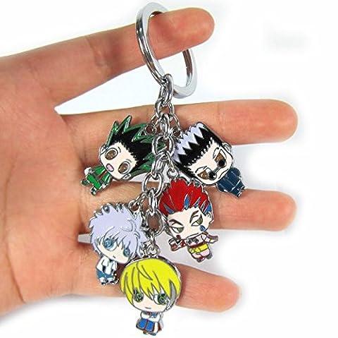 SUNKEE New Anime HUNTER×HUNTER 5 Cute Pendants Metal Keychain Keyrings