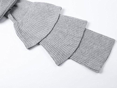 Simplee Apparel o della Donna Casual Top elegante a maniche lunghe maglione Shirts Maglione con balze grigio Grau