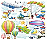 dekodino Wandtattoo Wandsticker Kinderzimmer Flugzeuge Wandtattoo Wandaufkleber Sticker