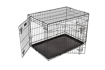 Dog Puppy Cage Folding 2 Door Crate with Plastic Tray Large 36-inch Black (Large) from RAC