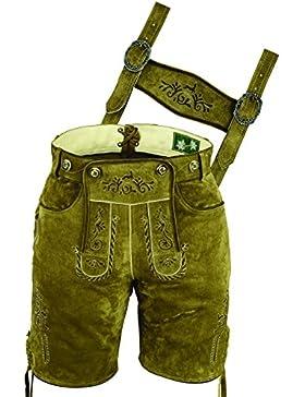 Bayerische Lederhose kurz Herren- Lederhose kurz Damen aus hochwertiges Veloursleder, mit Träger und Antikstick
