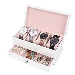 Meshela Schmuckkästchen Schmuckkoffer für Herren und Damen, Uhrenbox für 4 Uhren mit 1 Schmuck Tablett