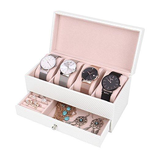 Vemupohal Uhren Aufbewahrung Schmuckkästchen Uhrenbox für Männer und Frauen Uhren Eleganter für Schmuck oder Armbandkollektion