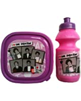 Kids Girls One Direction 1D Lunch Kit 2pc Set, Sandwich Lunch Box and Sports Bottle - Pink & Black/Red