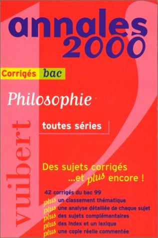 Annales 2000 philosophie, toutes séries bac, numéro 35. Corrigés