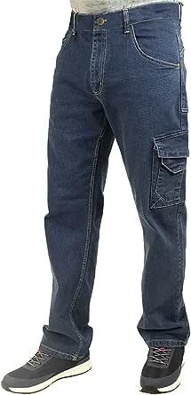 Lee Cooper Workwear Safety Carpenter Stretch Denim Jeans Work Trousers, Light Blue, 30W/31R