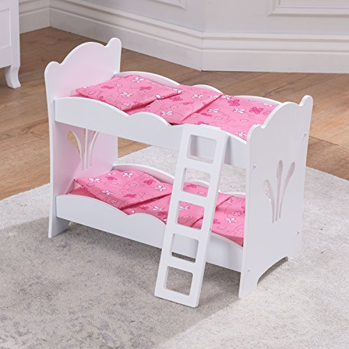 KidKraft 60130 Lil' Doll Bunk Bed Wooden Bunk Bed with Pink Bedding, Bedroom Furniture Accessory for 45 cm/18 Inch Dolls, White