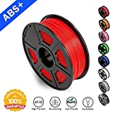 SUNLU ABS Filaments for 3D Printer, Red ABS Filament 1.75 mm,Low Odor Dimensional Accuracy +/- 0.02 mm 3D Printing Filament,2.2 LBS (1KG) Spool 3D Printer Filament for Most 3D Printers & 3D Pens,Red