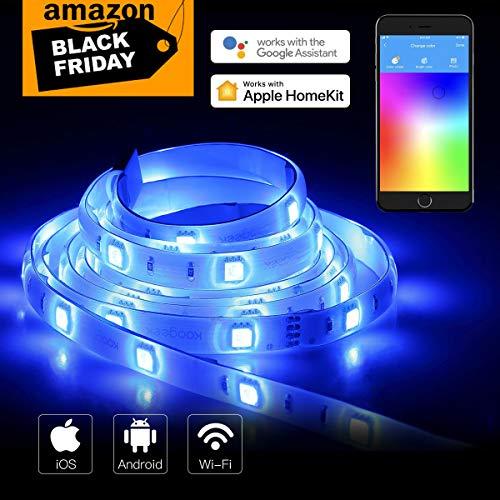 Koogeek Ruban LED Intelligente, Bande LED WiFi Compatible avec HomeKit, Siri, Alexa, Google Assistant, IP65 imperméable, 16 Millions de Couleurs réglable, Contrôle Vocal, App Télécommande, Minuterie