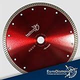 Diamant Trennscheibe 230mm, Feinsteinzeug, Granit, Naturstein, Marmor, Fliesen, sehr gut geeignet für das schneiden von dickeren Feinsteinzeugfliesen und dickerem Naturstein,