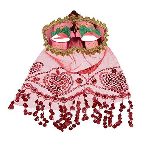 kerade Maske mit Schleier Karneval Fasching Venezianische Maske Augenmaske Halbmaske für Maskenball Kostüm Kostüm Party - rot (Rote Halbmaske Mit Federn)