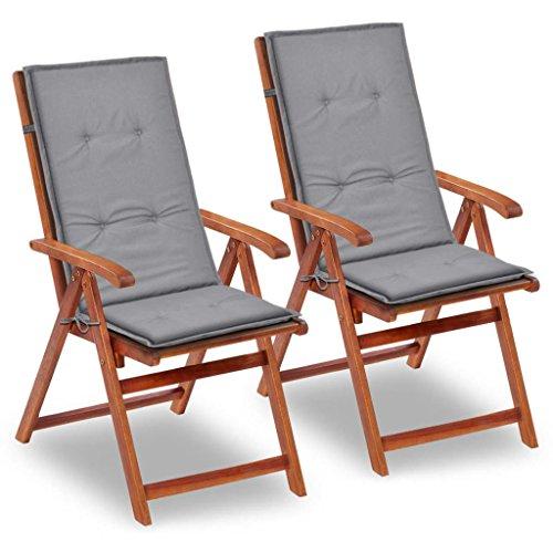 vidaXL 2X Gartenstuhl Auflage 120x50x3 cm Grau Hochlehner Sitzkissen Kissen