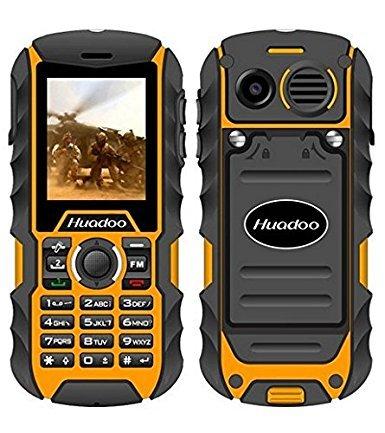 Rugged Cell Phone,Huadoo H1 IP68 Outdoor Waterproof Unlocked Rugged Mobile Phone ,Quadband Camera Flashlight Bluetooth (Orange)