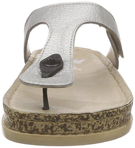 Rieker 64079 Women Flip Flop, Tongs femme Argent - Silber (argento / 90)