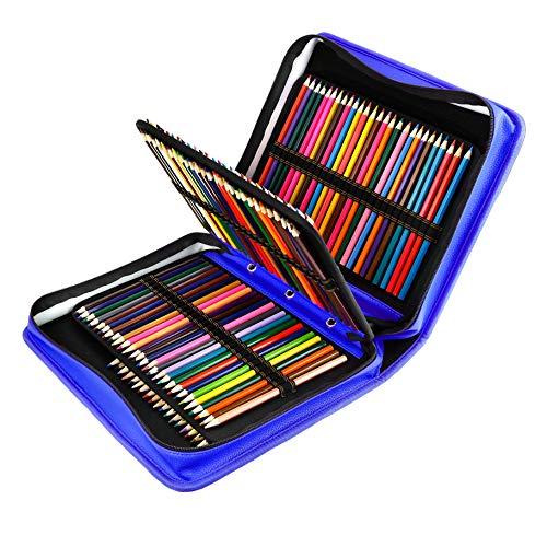 180 Slots PU Leder farbigen Bleistift Fall - Großes Fassungsvermögen, der Fall für Prismacolor Aquarell Bleistifte, Crayola Buntstifte, Marco Stifte von YOUSHARES (Blau) - Crayola-gel